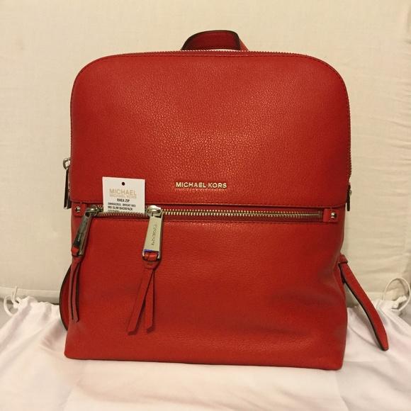217a3c77da9026 Michael Kors Bags | Rhea Zip Md Slim Backpack Leather Red | Poshmark